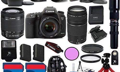 Canon 7D Mark II Camera Body with 18-55mm IS STM Lens + 75-300mm III + 500mm Preset Lens + 24pc Kit – International Version Review