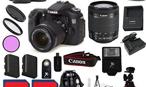 Canon EOS 70D Camera Body with Canon 18-55mm IS STM Lens Premium Bundle with Deluxe Backpack + 24pc Accessory Bundle Kit – International Version Review
