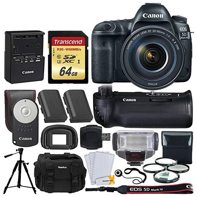 Canon EOS 5D Mark IV DSLR Camera + EF 24-105mm f/4L IS II USM Lens +Battery Grip + 64GB Memory Card + Canon Battery LP-E6N + Camera Case + Quality Tripod + TTL Flash + Full Frame Accessory Bundle