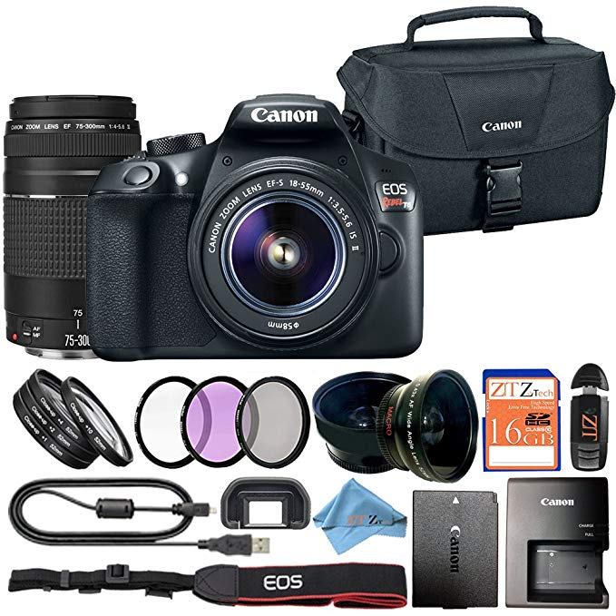 Canon EOS Rebel T6 18MP Digital SLR Camera Retail Packaging Bundle (18-55mm & 75-300mm Premium Bundle)