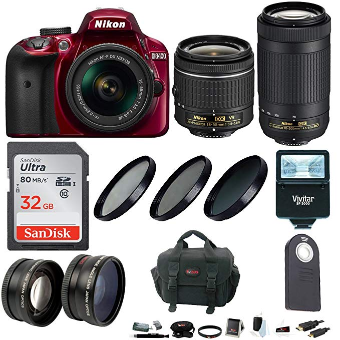 Nikon D3400 DSLR Camera (Red) w/ 18-55mm & 70-300mm Lenses & Accessory Bundle