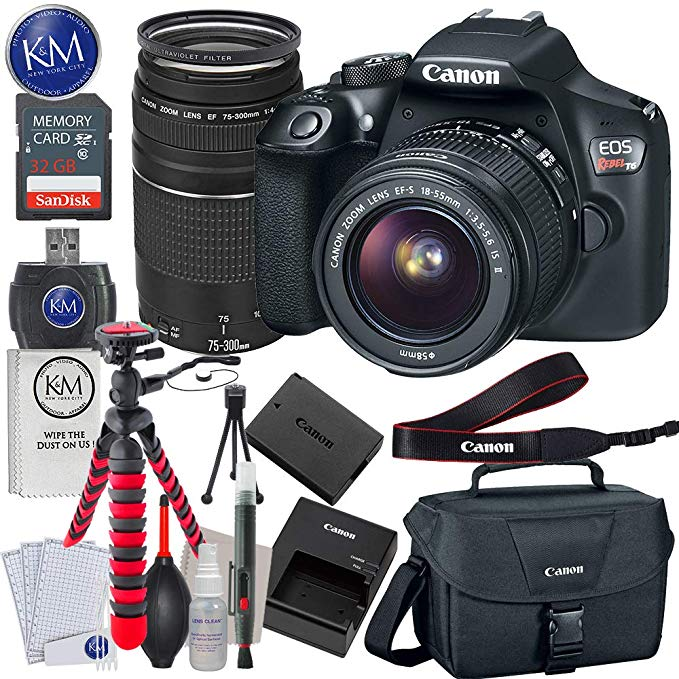 Canon EOS Rebel T6 DSLR Camera with 18-55mm and 75-300mm Lenses + 32GB + Essential Photo Bundle