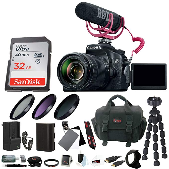 Canon EOS 70D DSLR Camera with 18-135mm Lens Video Creator Kit & Deluxe Accessory Bundle