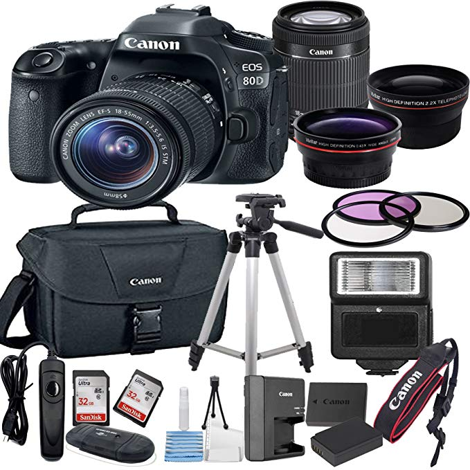 Canon EOS 80D Digital SLR Camera with EF-S 18-55mm Bundle includes Camera, Lenses, Filters, Bag, Memory Cards, Tripod, Flash, Remote Shutter and More - International Version