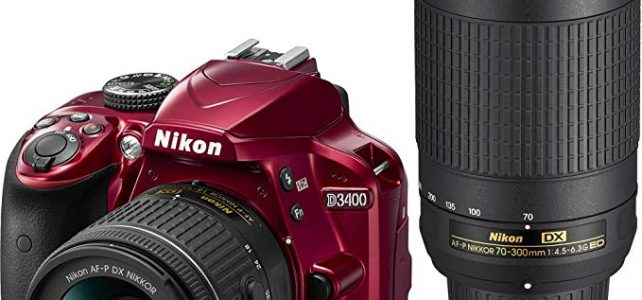 Nikon D3400 DSLR Camera w/ AF-P DX NIKKOR 18-55mm f/3.5-5.6G VR and 70-300mm f/4.5-6.3G ED Lens, 16GB memory included – Red Review
